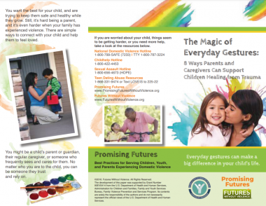 Image capture of one side of the unfolded brochure The Magic of Everyday Gestures in English. This side features the Front and Back of the brochure, with national resources listed.