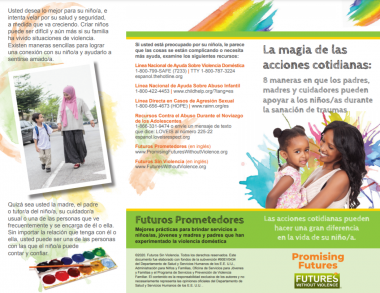 Image capture of one side of the unfolded brochure The Magic of Everyday Gestures, in Spanish. This side features the Front and Back of the brochure, with national resources listed.