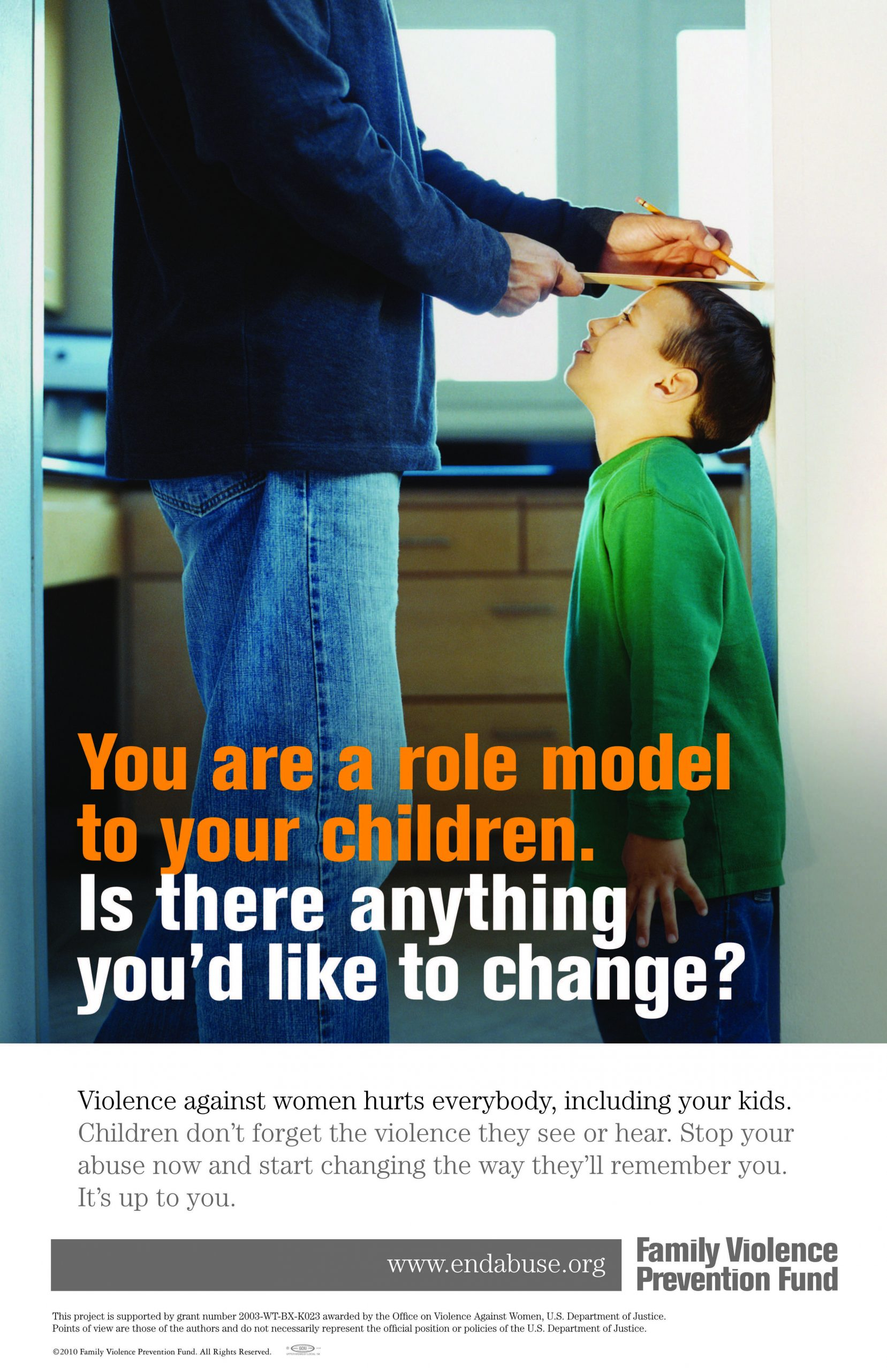 Fathering After Violence poster: Your are a role model to your children. Is there anything you'd like to change?