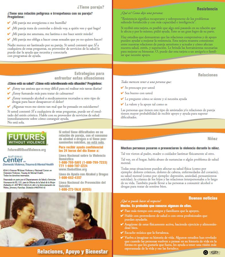 Spanish Behavioral Health Safety Card Full Panels Img