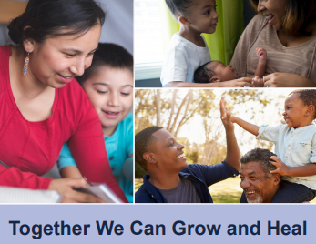 ARISE Pediatric Violence Prevention safety card cover image with 3 photos of children with caretakers. Title reads: Together We Can Grow and Heal